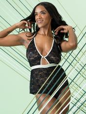Lovehoney Mindful Black Lace Plunging Teddy, Black, hi-res
