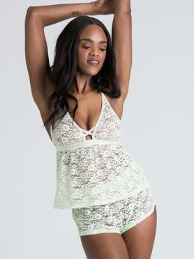 Conjunto de top y shorty de encaje verde menta Mindful de Lovehoney