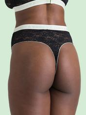 Lovehoney Mindful Black Lace Thong, Black, hi-res