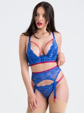Lovehoney Blue Belle Lace Front-Fastening Underwired Bra Set