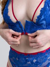 Lovehoney Blue Belle Lace Front-Fastening Underwired Bra Set, Blue, hi-res