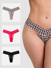 Lovehoney Sweet Cheeks Lace Thong Set (3 Pack), Pink, hi-res