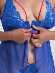 Lovehoney Blue Belle Lace Front-Fastening Underwired Babydoll Set, Blue, hi-res