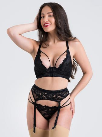 Lovehoney Raven Belle Black Lace Front-Fastening Underwired Bra Set