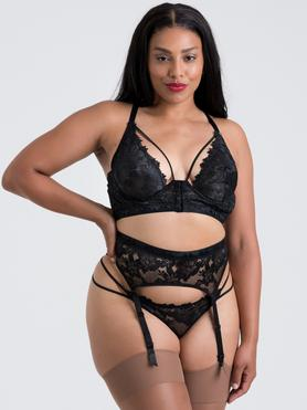 Lovehoney Plus Size Raven Belle Black Lace Front-Fastening Underwired Bra Set