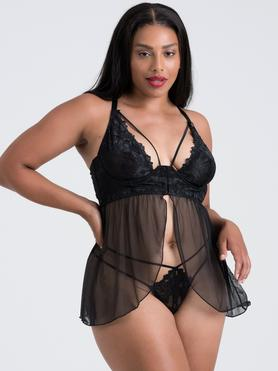 Lovehoney Plus Size Raven Belle Black Front-Fastening Underwired Babydoll Set