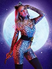 Lovehoney Feline Frisky Leopard Print Catsuit Costume, Brown, hi-res