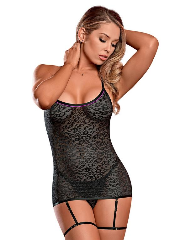 Exposed Black Sheer Leopard Print Chemise Set , Black, hi-res