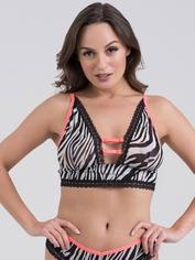 Lovehoney Flirty Animal Attraction Zebra Print Plunge Bra, Black, hi-res