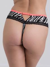 Lovehoney Flirty Animal Attraction Zebra Print Thong, Black, hi-res