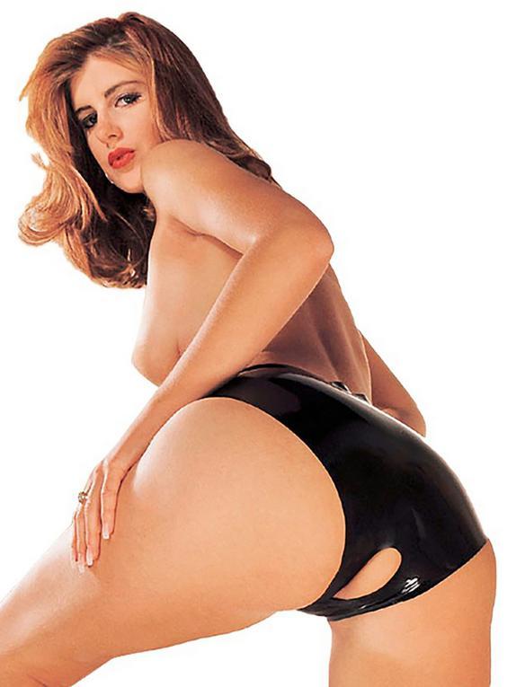 Sharon Sloane Crotchless Latex Knickers, Black, hi-res