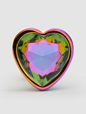 Rear Assets Small Jewelled Rainbow Heart Metal Butt Plug 2 Inch, Rainbow, hi-res