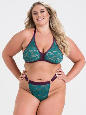 Lovehoney Plus Size Mindful Teal Lace Bra Set