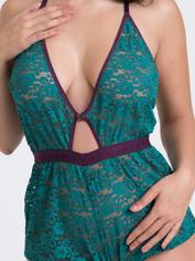 Lovehoney Mindful Black Lace Plunging Teddy, Green, hi-res