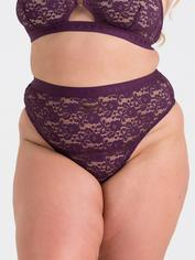 Lovehoney Mindful Black Lace Thong, Purple, hi-res