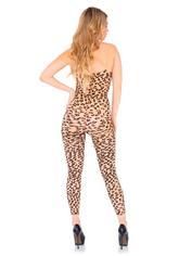Leg Avenue Leopard Print Footless Bodystocking, Black, hi-res