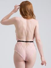 Lovehoney Barely There Sheer Purple Crotchless Teddy, Pink, hi-res