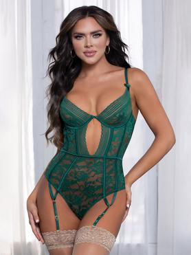 Seven 'til Midnight Green Floral Lace Underwired Thong Teddy