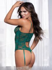 Seven 'til Midnight Green Floral Lace Underwired Thong Teddy, Green, hi-res