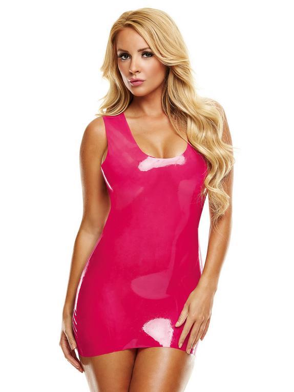 Premium Latex Pink Mini Dress, Pink, hi-res