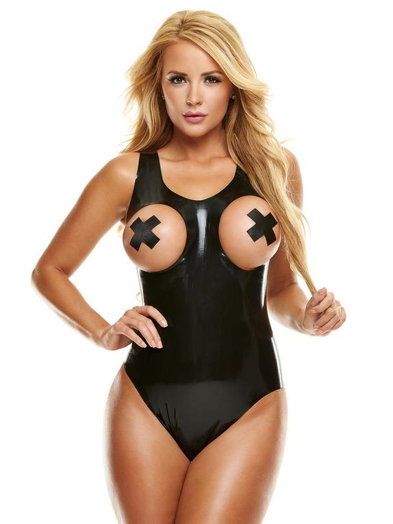 Premium Latex Open-Cup Teddy, Black, hi-res