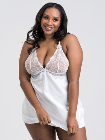 Lovehoney Plus Size Jewel Satin White Chemise Set