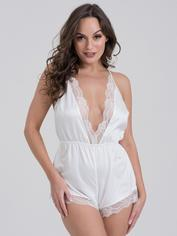 Lovehoney Jewel Satin Black Plunging Teddy, White, hi-res