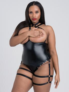 Lovehoney Plus Size Fierce Tough Love Wet Look Studded Open-Cup Body