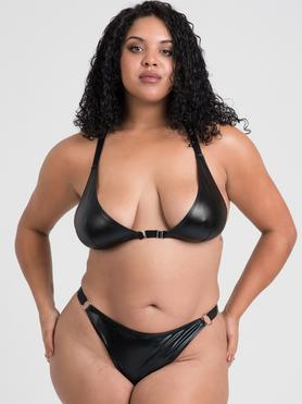 Lovehoney Plus Size Fierce Wet Look Front-Opening Bra Set