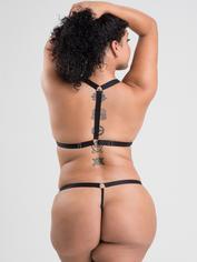 Lovehoney Fierce Wet Look Front-Opening Bra Set, Black, hi-res