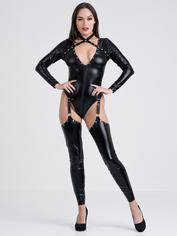 Lovehoney Fierce Tough Love Wet Look Studded Zip-Around Catsuit, Black, hi-res
