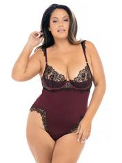 Oh La La Cheri Wine Eyelash Lace Underwired Teddy, Red, hi-res