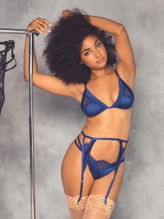 Oh La La Cheri Blue Eyelash Lace and Satin Bra Set