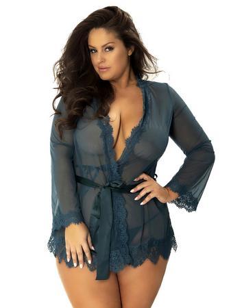Oh La La Cheri Plus Size Teal Sheer Eyelash Lace Trim Robe
