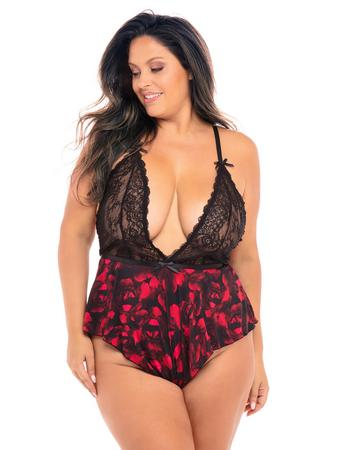 Oh La La Cheri Plus Size Black Lace Rose Print Teddy