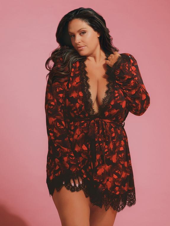 Oh La La Cheri Black Rose Print Lace Trim Robe, Black, hi-res