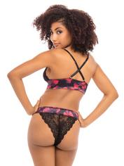 Oh La La Cheri Black Lace Rose Print Front-Fastening Bra Set, Black, hi-res