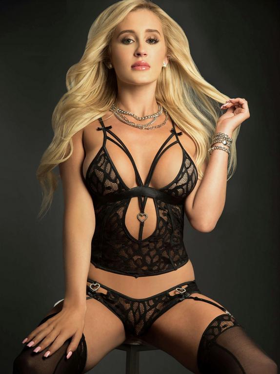 G World Black Lace Cut-Out Cami Set, Black, hi-res
