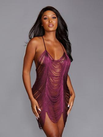 Dreamgirl Purple Fringe Chemise Set
