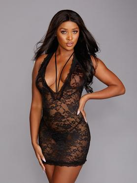 Dreamgirl Black Lace Deep Plunge Chemise Set