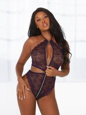 Dreamgirl Purple Lace Zip Front Teddy, Purple, hi-res