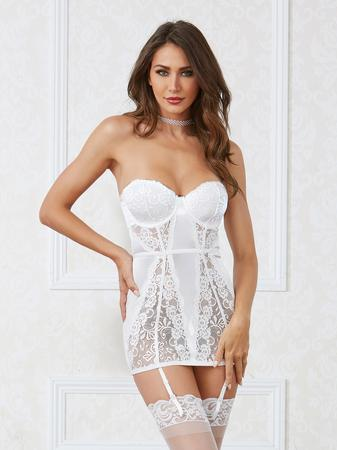 Dreamgirl White Satin and Lace Strapless Underwired Chemise Set