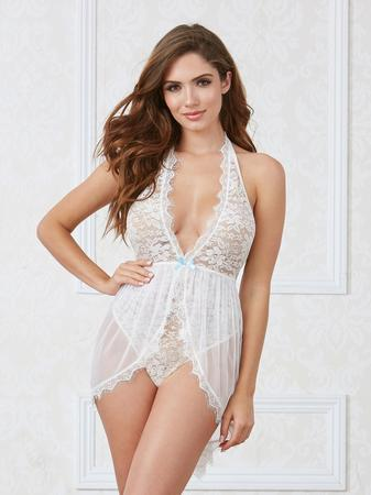 Dreamgirl White Deep Plunge Lace and Mesh Teddy