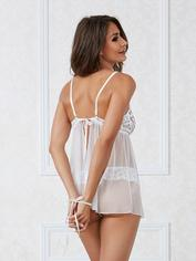Dreamgirl White Lace Babydoll and Pearl Thong Set, White, hi-res