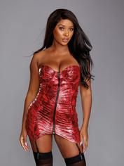 Dreamgirl Red Snakeskin Print Underwired Stretch Chemise, Red, hi-res