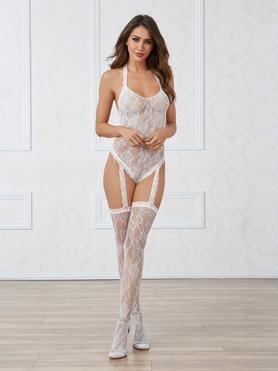 Dreamgirl White Lace and Pearl Back Halterneck Bodystocking