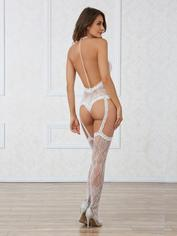 Dreamgirl White Lace and Pearl Back Halterneck Bodystocking, White, hi-res