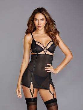 Dreamgirl Black Fishnet Strappy Underwired Chemise Set