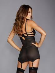 Dreamgirl Black Fishnet Strappy Underwired Chemise Set, Black, hi-res