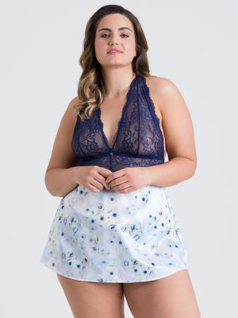 Lovehoney Plus Size Watercolor Blue Lace and Floral Satin Babydoll Set